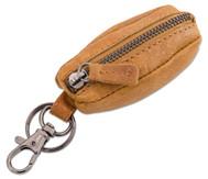 Schlüsselanhänger mit Münztasche, Echtleder, hellbraun