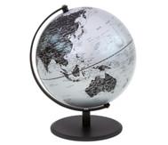 Globus Pluto matt silber, Höhe 30 cm, Durchmesser 24 cm