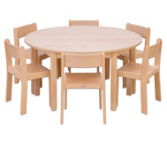 Möbel-Set Rondo, Sitzhöhe 26 cm, Tischhöhe 46 cm, Ahorn