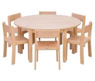 Möbel-Set Rondo Sitzhöhe 34 cm, Tischhöhe 58 cm, Ahorn