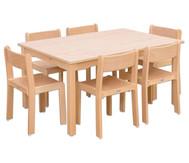 Möbel-Set Ortho Sitzhöhe 30 cm, Tischhöhe 52 cm, Ahorn