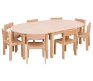 Möbel-Set Karima, Sitzhöhe 42 cm Tischhöhe 70 cm, Ahorn