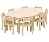 Möbel-Set Batur, Sitzhöhe 26 cm, Tischhöhe 46 cm, Ahorn