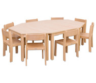 Möbel-Set Batur, Sitzhöhe 38 cm, Tischhöhe 64 cm, Ahorn