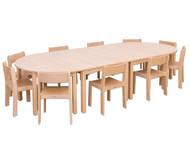 Möbel-Set Bunga, Sitzhöhe 34 cm, Tischhöhe 58 cm, Ahorn