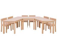 Möbel-Set Padma, Sitzhöhe 26 cm, Tischhöhe 46 cm, Ahorn