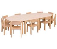 Möbel-Set Kusuma, Sitzhöhe 34 cm, Tischhöhe 58 cm, Ahorn