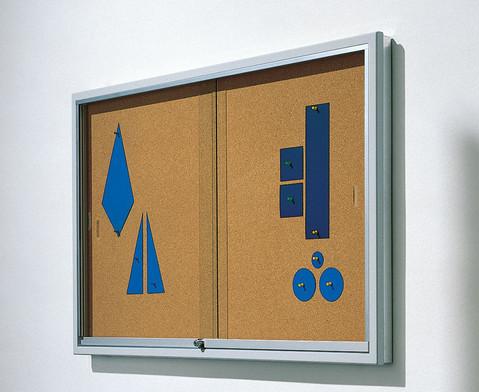 Info-Vitrine 195 cm breit Stahlrahmen Kork
