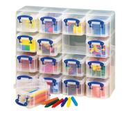 16 transparente Sortierboxen im Schuber
