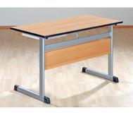 Lehrertisch: L-Fuß, Blende, abschließbares Fach & PU-Kante
