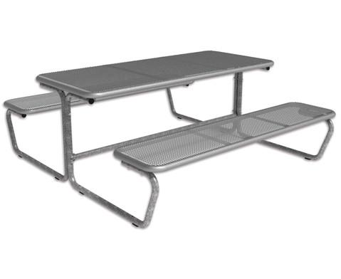 Sitzgruppe Tischplatte  Sitzbaenke aus Drahtgitter