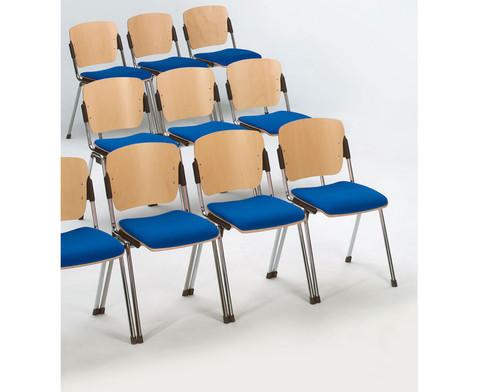 Stapelstuhl mit Sitzpolster Gestell chrom