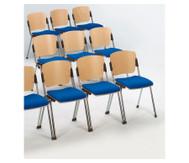 Stapelstuhl mit Sitz und Rückenpolsterung Gestell: chrom