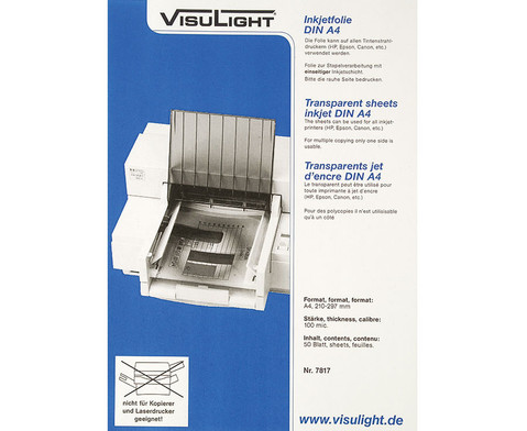 Visulight Folien fuer Tintenstrahldrucker - DIN A4-1