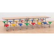 16er-Tisch-Sitz-Kombination rechteckig,Sitzhöhe 34,5 cm