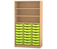 Flexeo Hochregal mit 24 kleinen Gratnellsboxen, oben 2 Fachböden, HxB: 190 x 108,1 cm