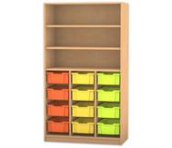Flexeo Hochregal mit 12 großen Gratnellsboxen, oben 2 Fachböden, HxB: 190 x 108,1 cm