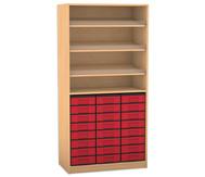 Flexeo Regal, 3 Schrägablagen, 1 Ablageboden 24 kleine Boxen, HxB: 190 x 94,4 cm