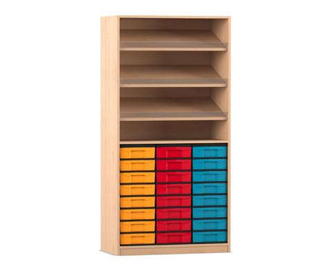 Flexeo Regal mit 3 Schraegablagen und 24 kleinen Boxen