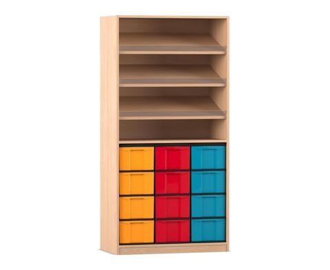 Flexeo Regal mit 3 Schraegablagen und 12 grossen Boxen