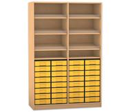 Flexeo Regal, 6 Schrägablagen, 2 Ablageböden 32 kleine Boxen, HxB: 190 x 126,4 cm
