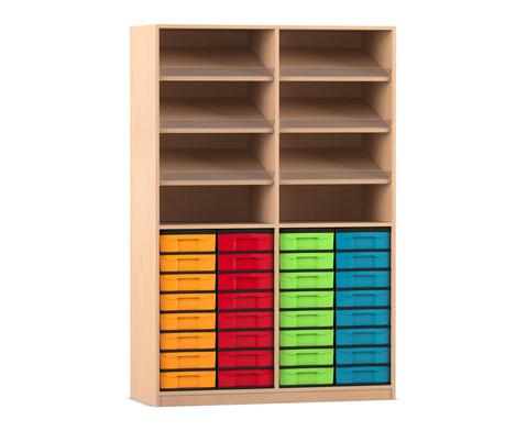 Flexeo Regal mit 6 Schraegablagen und 32 kleinen Boxen