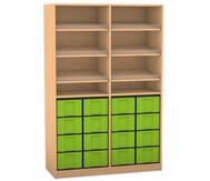 Flexeo Regal, 6 Schrägablagen, 2 Ablageböden 16 große Boxen, HxB: 190 x 126,4 cm