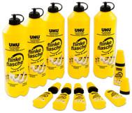 Set: UHU flinke Flasche 5 x 740 g + 6 Leerflaschen 35 g