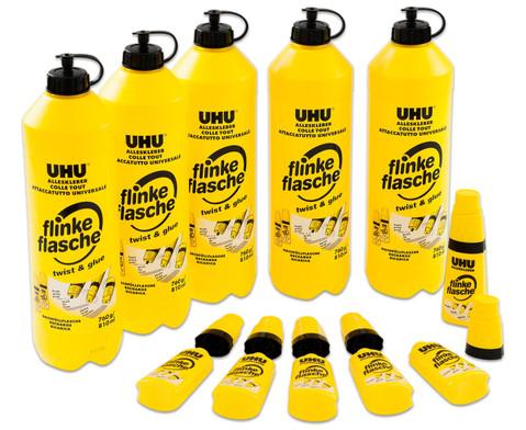UHU Set flinke Flasche 5 x 740 g  6 Leerflaschen 35 g