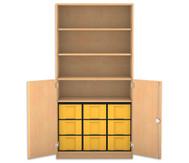 Flexeo Halbtürenschrank, 2 Drehtüren, 4 Fachböden 9 große Boxen, HxBxT: 190 x 94,4 cm