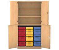 Flexeo Halbtürenschrank, 4 Drehtüren, 3 Fachböden 24 kleine Boxen, HxBxT: 190 x 94,4 cm