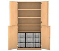 Flexeo Halbtürenschrank, 4 Drehtüren, 4 Fachböden 9 große Boxen, HxBxT: 190 x 94,4 cm