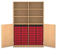 Flexeo Halbtürenschrank, 2 Drehtüren, 6 Fachböden mit Mittelwand, 32 kleine Boxen