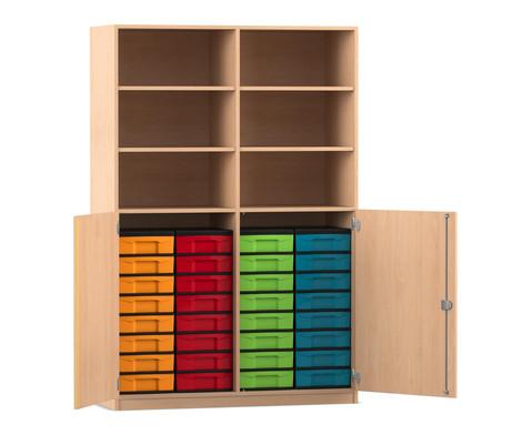 Flexeo Halbtuerenschrank mit 32 kleinen Boxen und 2 Halbtueren