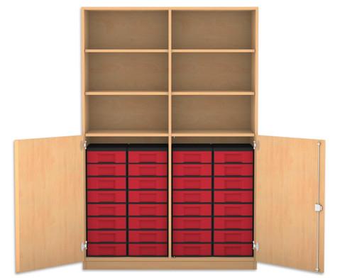 Flexeo Halbtuerenschrank mit 32 kleinen Boxen und 2 Halbtueren-1