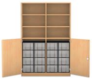 Flexeo Halbtürenschrank, 2 Drehtüren, 6 Fachböden mit Mittelwand, 16 große  Boxen