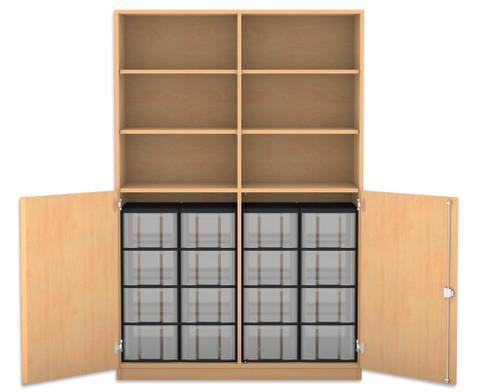 Flexeo Halbtuerenschrank mit 16 grossen Boxen und 2 Halbtueren