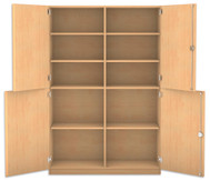 Flexeo Halbtürenschrank, 4 Drehtüren, 8 Fachböden mit Mittelwand, HxBxT: 190 x 126,4 cm