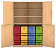 Flexeo Halbtürenschrank, 4 Drehtüren, 6 Fachböden mit Mittelwand, 32 kleine Boxen