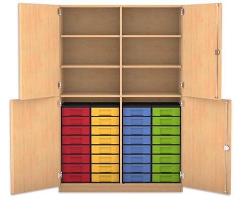 Flexeo Halbtuerenschrank mit 32 kleinen Boxen und 4 Halbtueren
