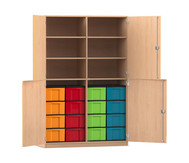 Flexeo Halbtürenschrank mit 16 großen Boxen und 4 Halbtüren