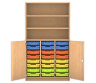 Flexeo Halbtürenschrank mit 24 Gratnells-Boxen und 2 Halbtüren