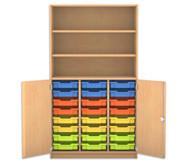 Flexeo Halbtürenschrank mit 24 kleinen Boxen, oben 2 Fachböden, 2 Türen, HxB: 190 x 108,1 cm