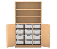 Flexeo Halbtürenschrank mit 12 großen Boxen, oben 2 Fachböden, 2 Türen, HxB: 190 x 108,1 cm