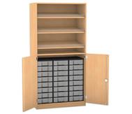Flexeo Schrank, 3 Schrägablagen, 1 Ablageboden 24 kleine Boxen, 2 Drehtrüren, HxB: 190 x 94,4 cm