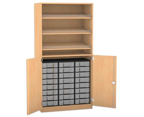 Flexeo Schrank mit 3 Schraegablagen 24 kleinen Boxen und 2 Halbtueren
