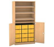Flexeo Schrank, 3 Schrägablagen, 1 Ablageboden 12 große Boxen, 2 Drehtrüren, HxB: 190 x 94,4 cm