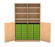 Flexeo Schrank, 6 Schrägablagen, 2 Ablageböden 32 kleine Boxen, 2 Drehtüren, HxB: 190 x 126,4 cm