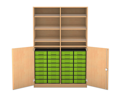 flexeo schrank mit 6 schr gablagen 32 kleinen boxen und 2 halbt ren. Black Bedroom Furniture Sets. Home Design Ideas