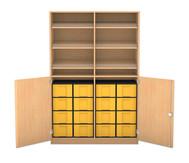 Flexeo Schrank mit 6 Schrägablagen, 16 großen Boxen und 2 Halbtüren